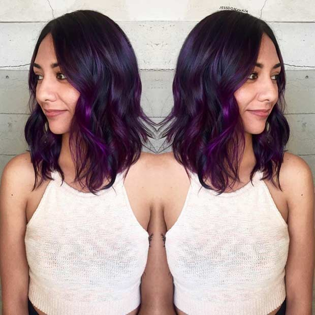 Purple Shoulder Length Hairstyle