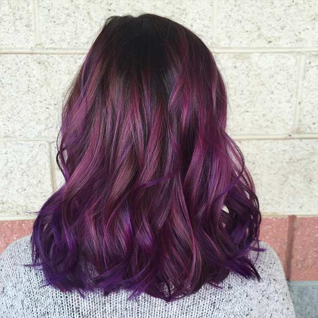 Medium Length Dark Purple Hairstyle
