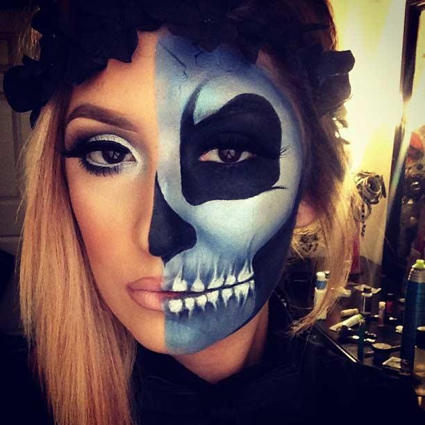 Blue Half Face Skeleton Makeup Look