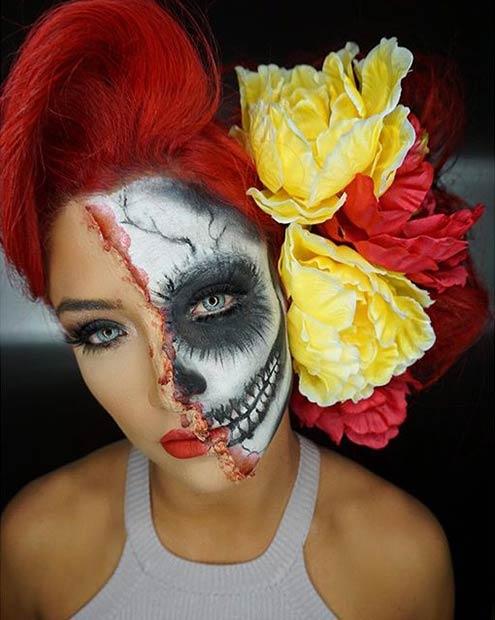 Half Face Skull Halloween Makeup Look