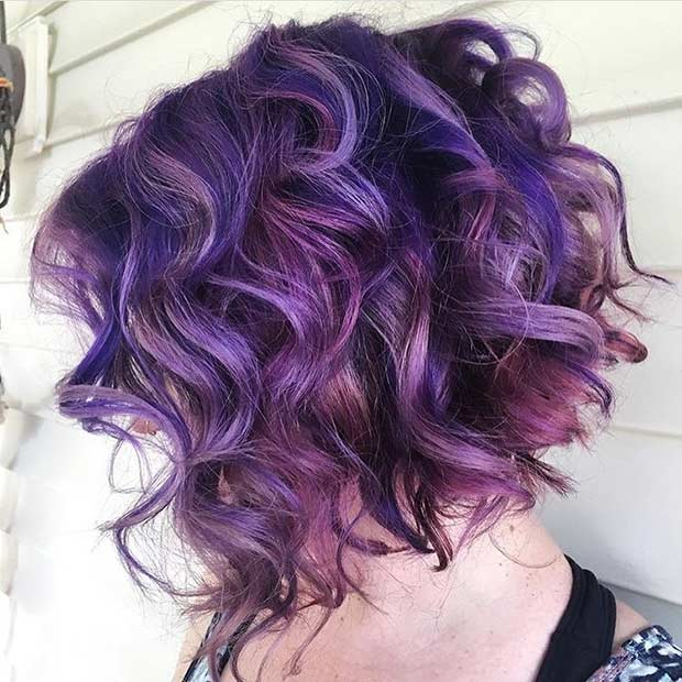 Short Curly Purple Hairstyle