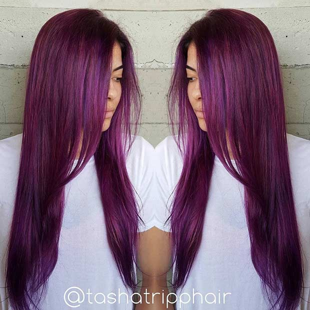 Long Grape Purple Hair Color Idea