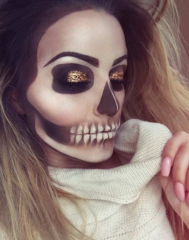 Skeleton Makeup Look for Halloween