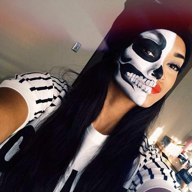 Last Minute Skeleton Makeup Look