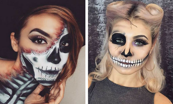 23 cool skeleton makeup ideas to try for halloween stayglam. Black Bedroom Furniture Sets. Home Design Ideas