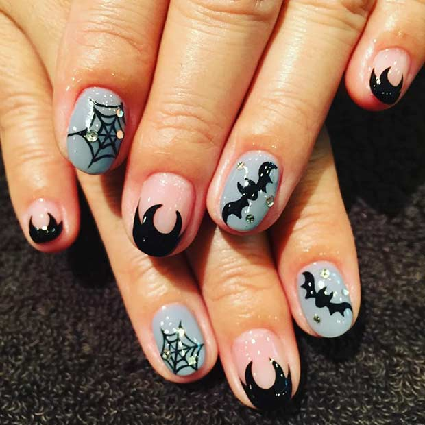 Cute Bats Halloween Nails