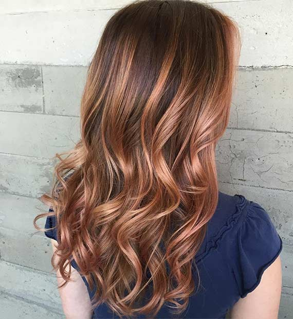 Fall Rose Gold Hair Color Idea