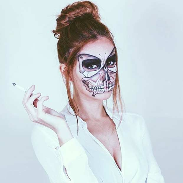 Butterfly Skeleton Halloween Makeup Look