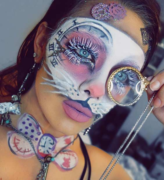 White Rabbit Alice in Wonderland Halloween Makeup Look