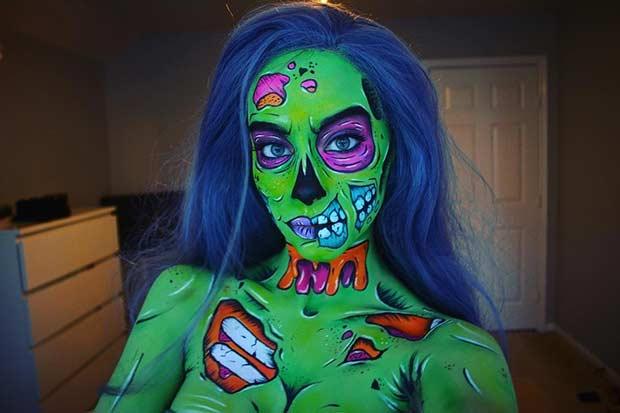 Green Pop Art Zombie Halloween Makeup Look