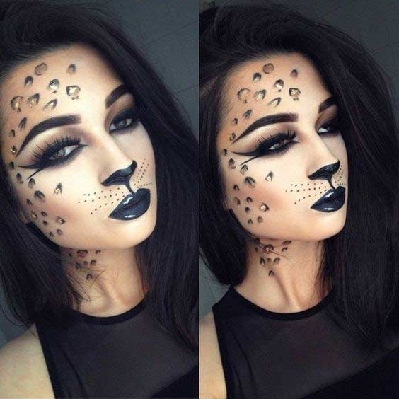 Cheetah Cat Easy Halloween Makeup Look