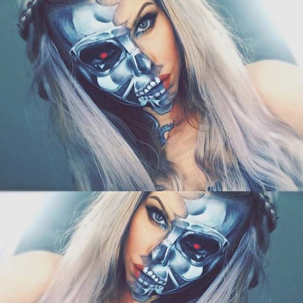 Half Face Terminator Makeup Look for Halloween