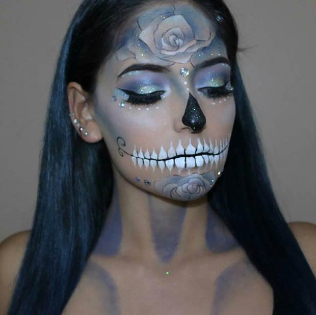 Pretty Glittery Sugar Skull Halloween Makeup Look
