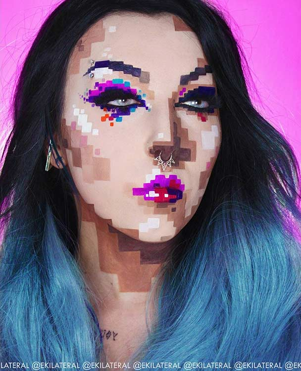 Pixelated Face Halloween Makeup Look