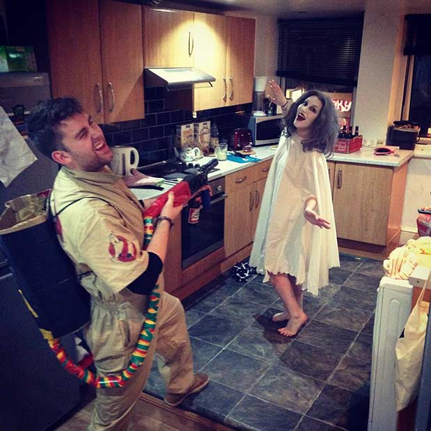ghostbuster diy couple halloween costume