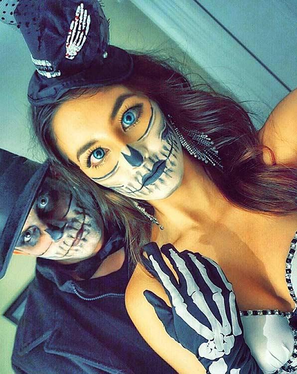DIY Skeleton Couple Halloween Costume and Makeup Idea