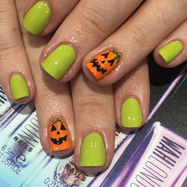 Jack O'Lantern Easy Halloween Nails