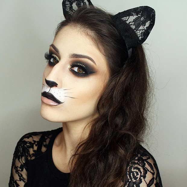 Glam DIY Cat Halloween Makeup