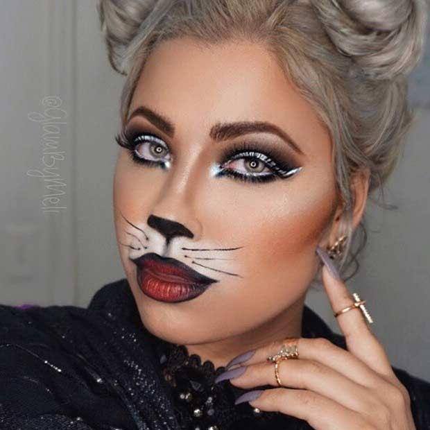 Easy DIY Cat Halloween Makeup