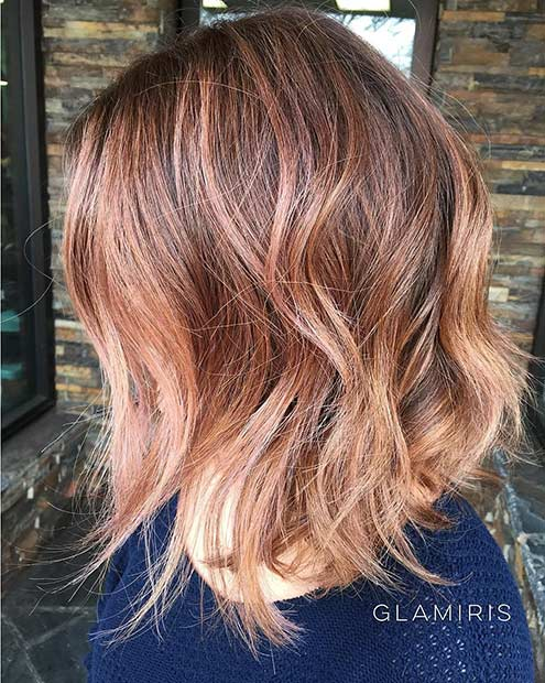 Subtle Rose Gold Long Bob Hairstyle
