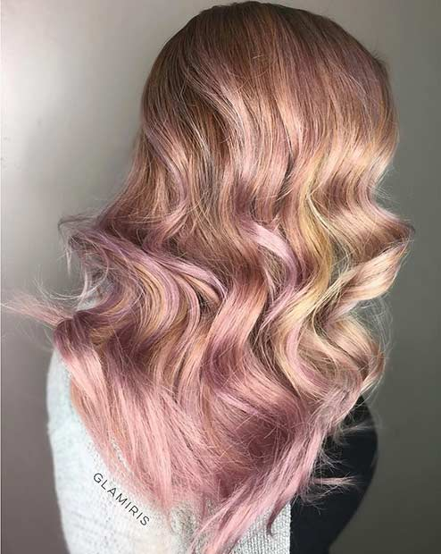 Blonde and Rose Gold Hair Color Idea