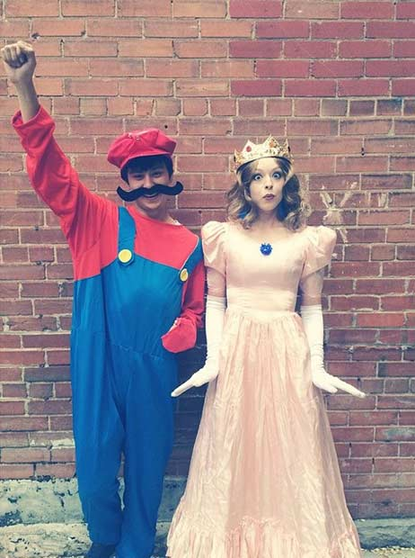 Super Mario Princess Peach Couples Halloween Costume