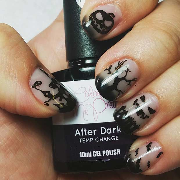 Scary Black Halloween Nail Design