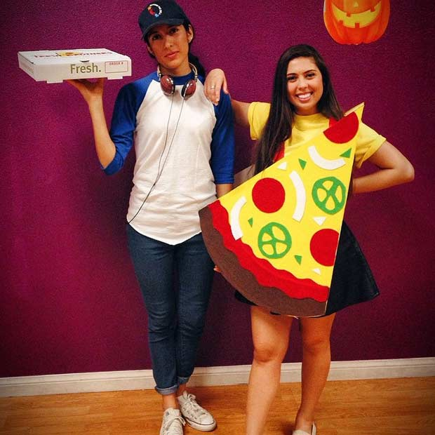 Pizza Delivery Guy and Pizza BFF Halloween Costume Idea
