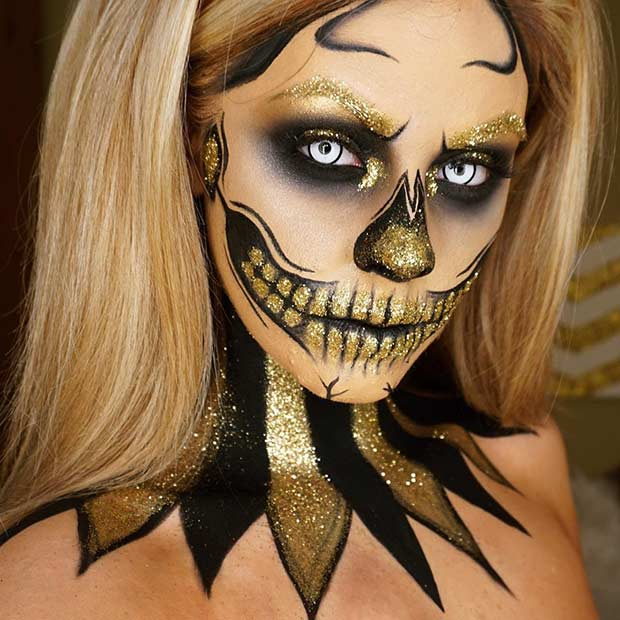 Black and Gold Glitter Skeleton Makeup Look for Halloween