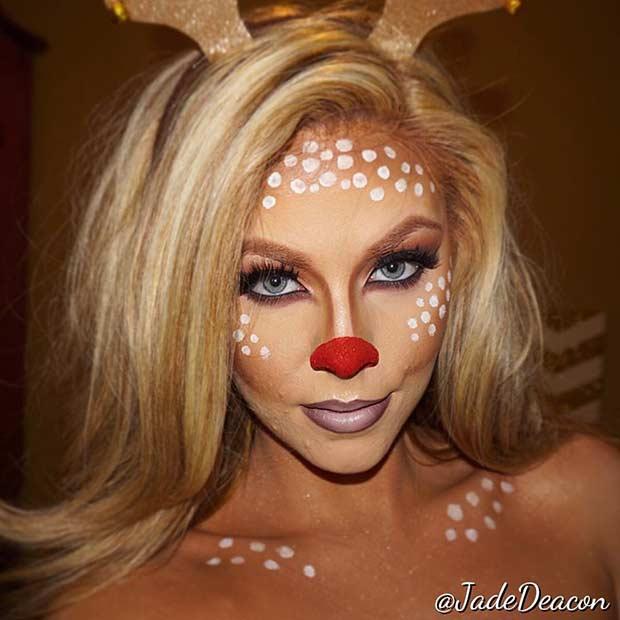 Easy Reindeer Halloween Makeup Look