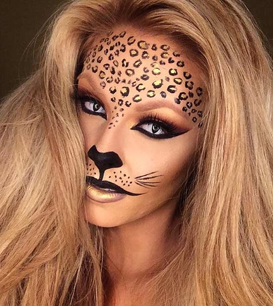 Black and Gold DIY Cheetah Halloween Makeup