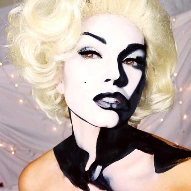 Black White Marilyn Monroe Halloween Makeup