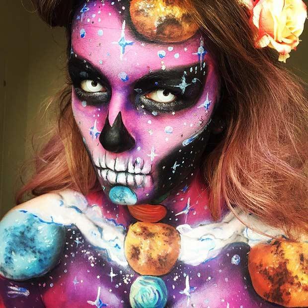Space Skull Halloween Makeup Look