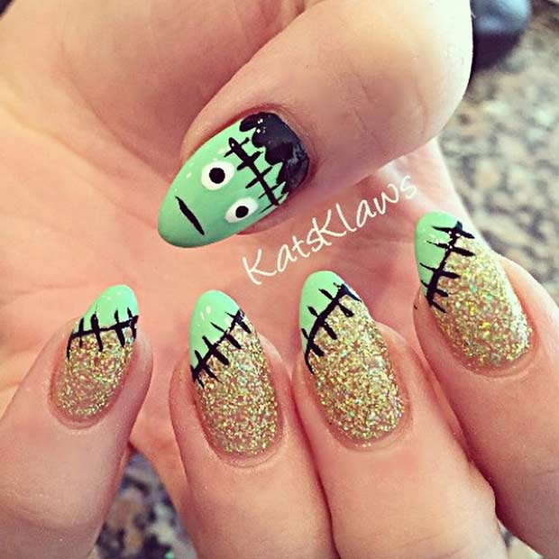 Cute Frankenstein Halloween Pointy Nails