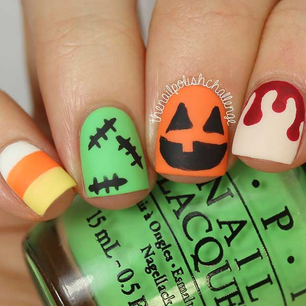 Creative Halloween Nail Art Design for Short Nails