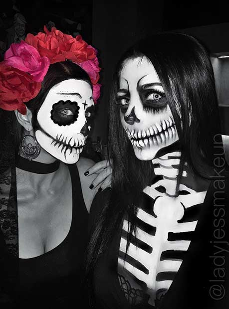 BFF Matching Skeleton Halloween Costume Idea