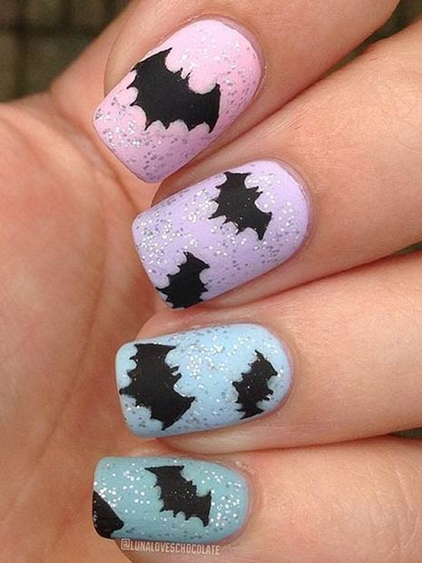 Cute Pastel Bat Nail Art Design for Halloween