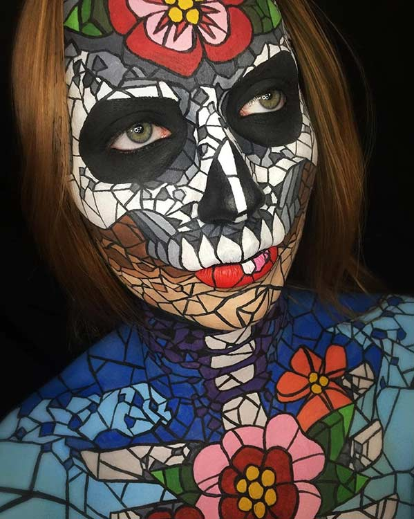 Stained Glass Skull Halloween Makeup Look