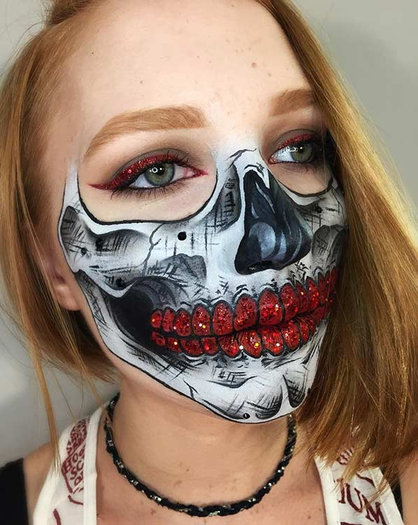 Red Glitter Half Face Skeleton Makeup Look for Halloween