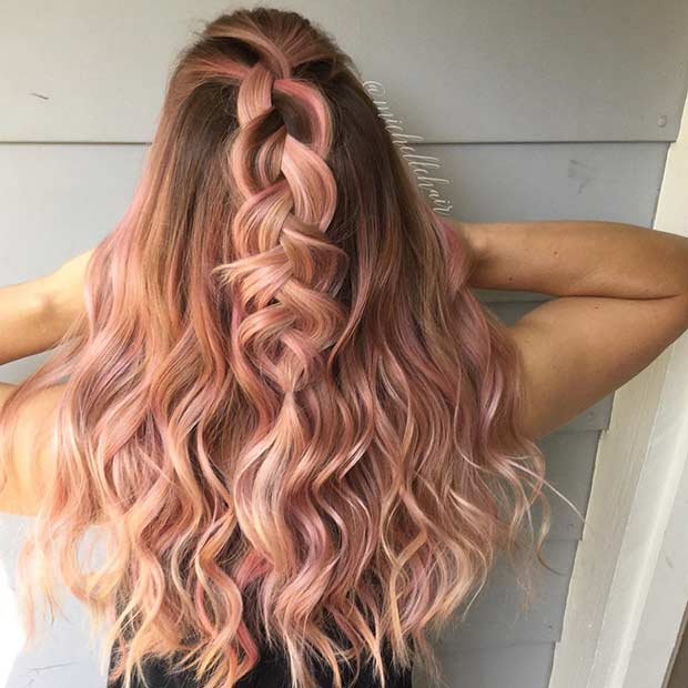 Beautiful Rose Gold Balayage Highlights