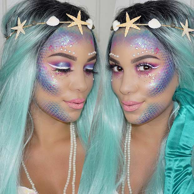 Pretty Mermaid Halloween Makeup Look