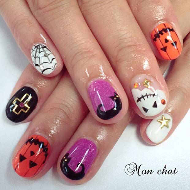 Cute Halloween Nail Art Design for Short Nails