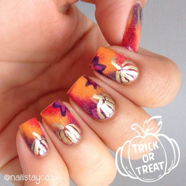 Pumpkin Nails for Fall and Halloween