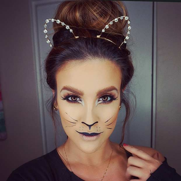 Simple and Easy Cat Halloween Makeup