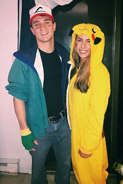 Ash Pikachu Pokemon Couple Halloween Costume