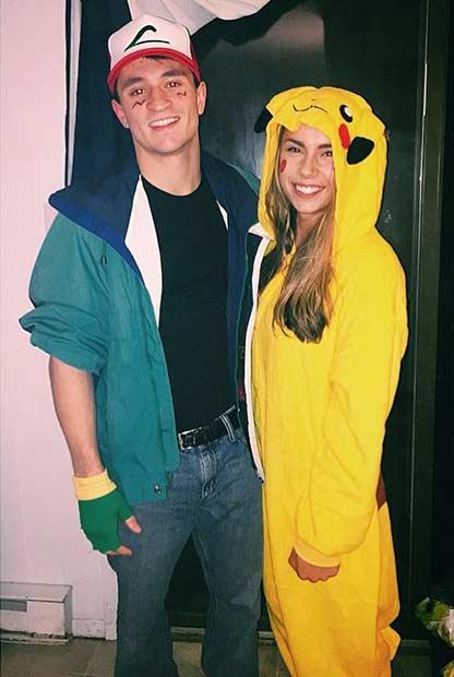 Ash Pikachu Pokemon Couple Halloween Costume