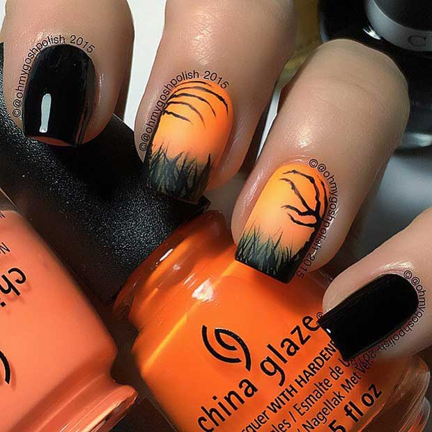 Spooky Silhouettes Halloween Black and Orange Nails