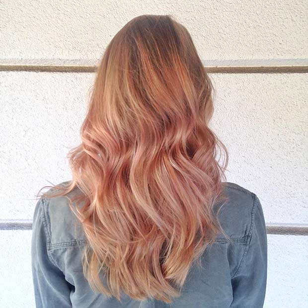 Rose Gold Balayage Hairstyle