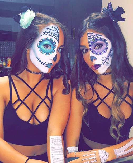 Sugar Skull BFF Matching Halloween Costume Idea