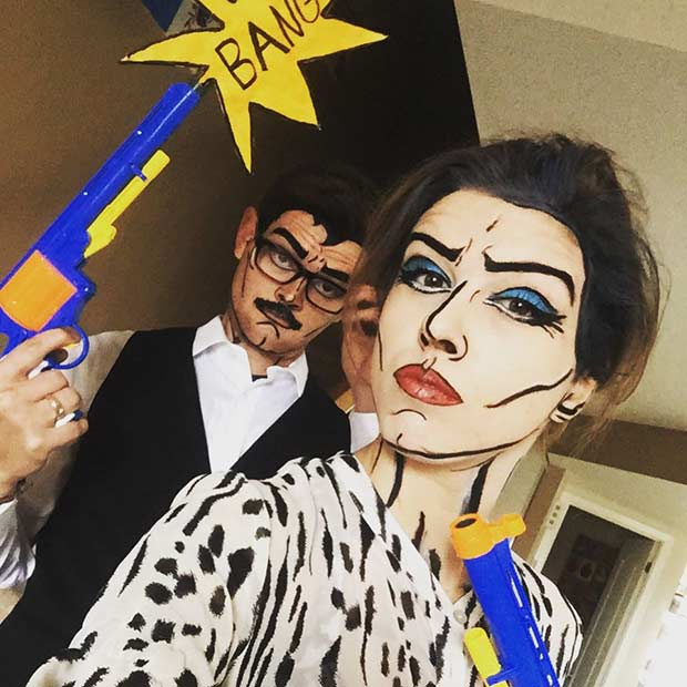 Pop Art Couple Easy Halloween Costume Idea